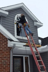 Arch window install in January