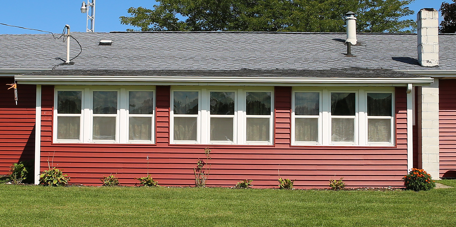 After: red siding